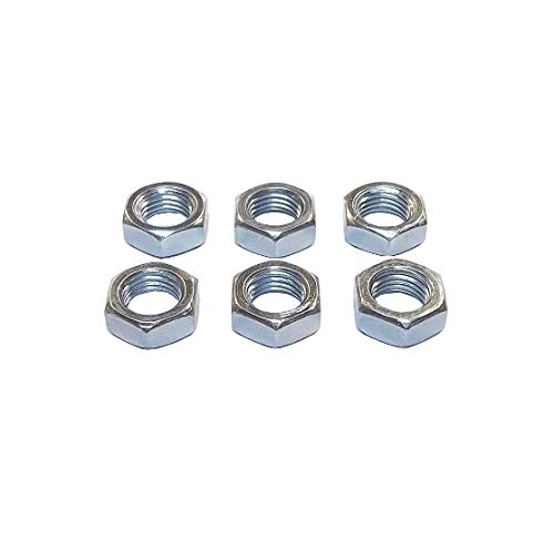 6-Pack QSC 3//8-24 Steel Right Hand Jam Nut Clear Zinc Plated