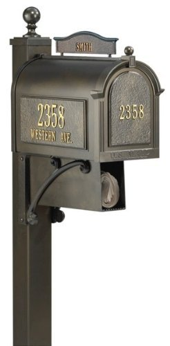 Whitehall Products 16303 Ultimate Mailbox Package, French Bronze (Deluxe Whitehall Package Mailbox)