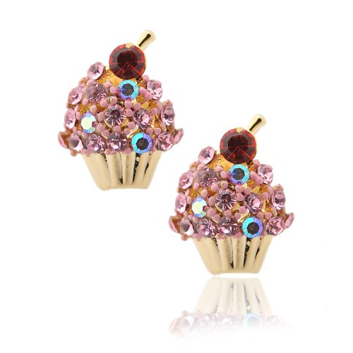 Spinningdaisy Crystal Cherry on the Top Cupcake Earrings (Pink) -