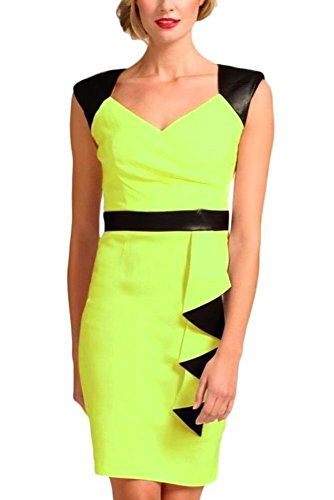 Neon Temptation in Leather Business Adam's Back Bodycon Block Dress Green dIwqpw