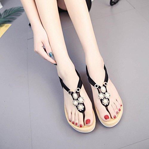 DIGOOD Beach Sandals for Women,Ladies Teen Girls Low Heel Flip Flops Sandal Summer Shoes Black