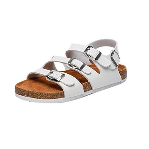ZKOO Sandalias Mujeres Playa Sandalias Chanclas Multi Vendaje Zapatos Planas Zapatillas Con Ajustable Hebilla Casual Blanco