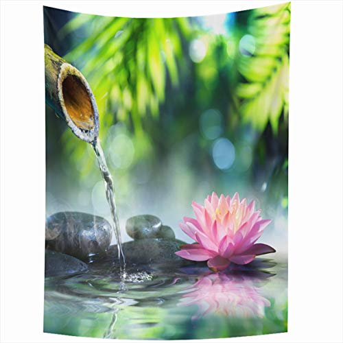 Ahawoso Tapestry Wall Hanging 50x60 Inches Health Green Spa Zen Garden Black Stones Pink Waterlily Nature Parks Bamboo Water Fountain Lotus Home Decor Tapestries Art for Living Room Bedroom Dorm