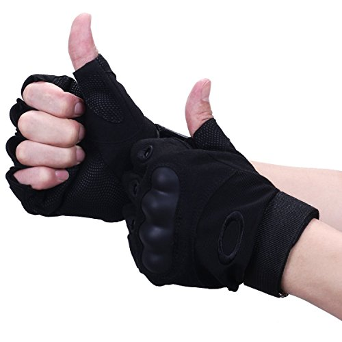 Dreampark Free Soldier Mens Hard Knuckle Military Half finger Fingerless Tactical Gloves for Gear Sport Shooting