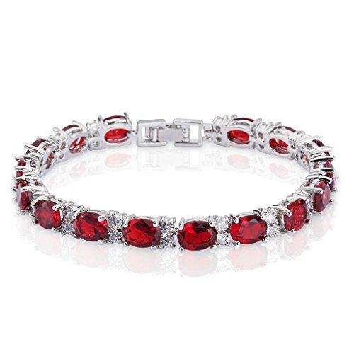 (SELOVO Elegant Women Link Chain Tennis Bracelet Red Zircon CZ Silver Tone)