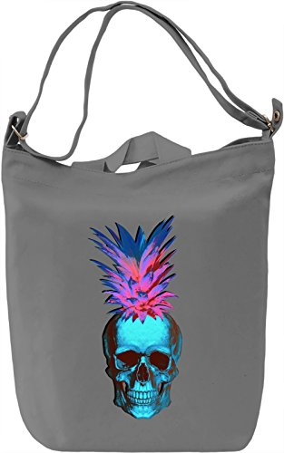 rock n roll skull pineapple Borsa Giornaliera Canvas Canvas Day Bag| 100% Premium Cotton Canvas| DTG Printing|