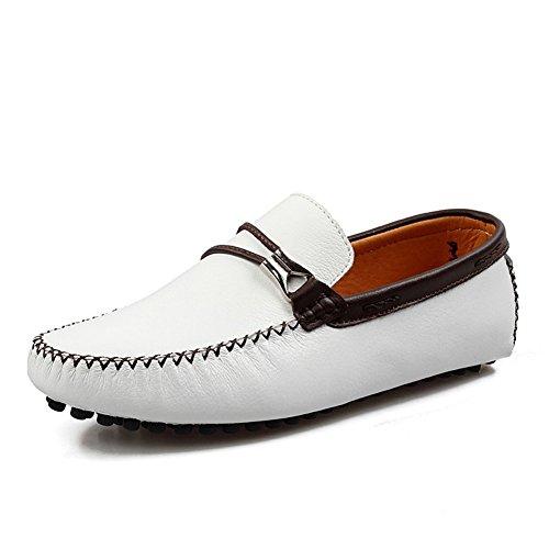 Santimon Hommes Confortables Chaussures De Conduite En Cuir Mocassins Mocassins Chaussures Blanches