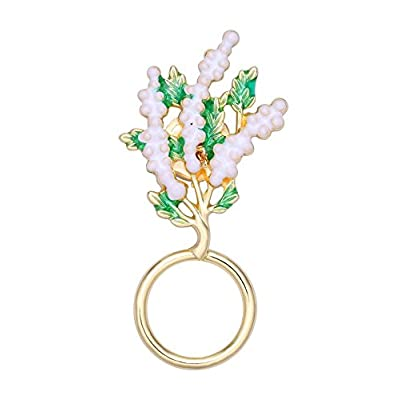 TUSHUO Enamel Green and White Plum Blossom Eyeglass Holder Branch Strong Clip Magnetic Brooch Jewelry for cheap