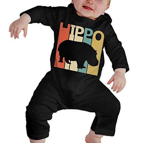 UGFGF-S3 Retro Hippo Newborn Kids Long Sleeve Romper Jumpsuit Organic Coverall