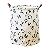 Plaid Letters Animal Storage Bin, JUNMAO Round Canvas Cotton Fabric Storage Basket Organizer Hamper with Handles for Clothes Toy Laundry Bathroom, Folding/Waterproof (Letters, 16''x20'')