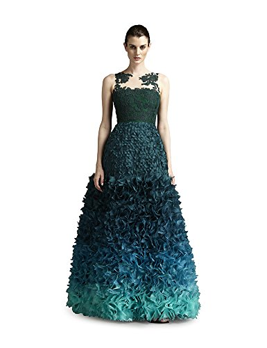 Fabiola Arias Women's Lace Allover Petal Gown 14 Forest Green to Turquoise Ombre (Renta Gown Formal)