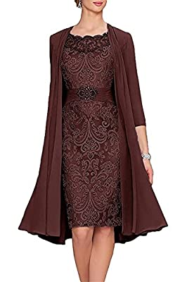 YSMO Womens Tea Length Mother Of The Bride Dresses Two Pieces With Jacket