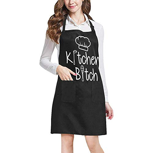 INTERESTPRINT Funny Quotes & Sayings Apron, Kitchen Bitch Unisex Adjustable Bib Apron with Pockets for Women Men Girls Chef for Cooking Baking Gardening Crafting, Large Size