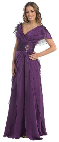 Mother of the Bride Formal Evening Dress #831 (X-Large, Eggplant)