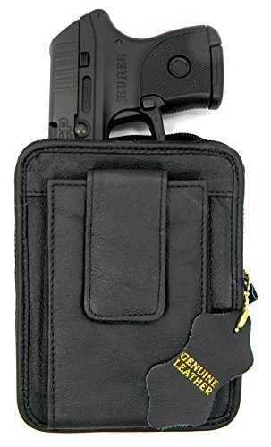 Black Leather Concealment Gun Belt Pack Holster for Ruger LCP 380 with Laser, Sig Sauer P238 with laser, Kel-Tec 380 with laser, S&W Bodyguard 380 with laser, Taurus TCP 380 with laser, Diamondback 380 with laser, Kahr P380 with laser