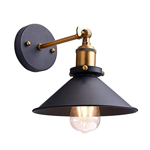 (Modern Industrial Wall Light Sconce - YIKEGE Minimalist Wall Lamp Iron Fixture 8.66