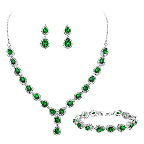BriLove Wedding Bridal CZ Necklace Bracelet Earrings Jewelry Set for Women Teardrop Infinity Figure 8 Y-Necklace Tennis Bracelet Dangle Earrings Set Emerald Color Silver-Tone May Birthstone ()