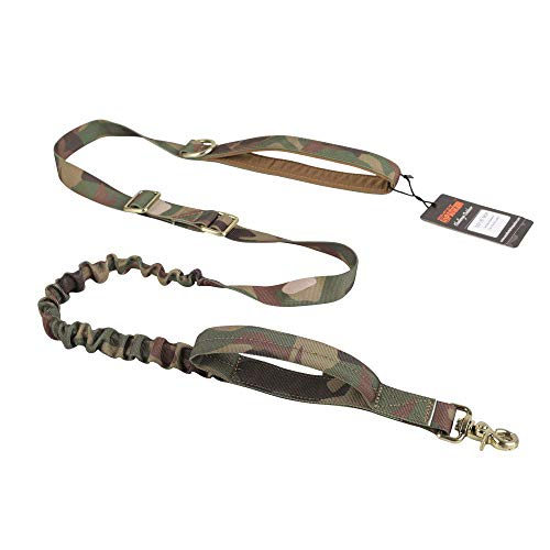 EXCELLENT ELITE SPANKER Tactical Bungee Dog Leash Military Adjustable Police Dog Training Leash Elastic Leads Rope with 2 Control Handle(MCP)