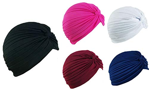 5 Women Stretchy Turban Chemo Cap Bennie Head Wrap Headwear