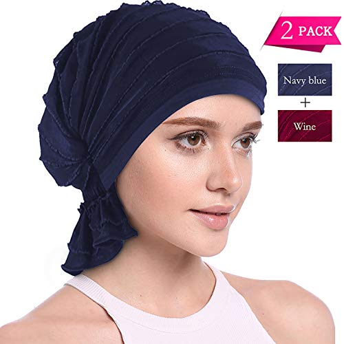 (JarseHera Ruffle Chemo Turban Slip-on Cancer Scarf Stretch Cap Headwear for Hair Loss (2 Pair Basic,Wine+Navy Blue, One Size Fit All))