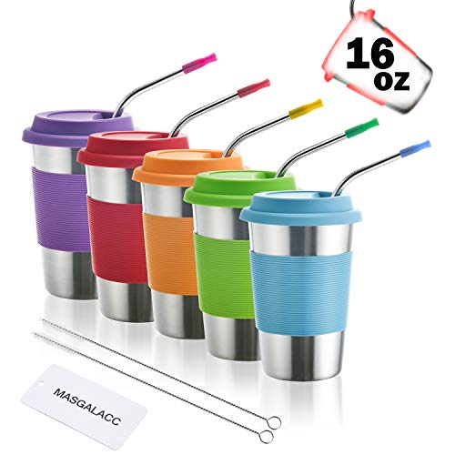 Kids Stainless Steel Cups 16 oz With Silicone Lids & Straw 5 Pack Drinking Tumblers for Adults, Children and Toddlers ()