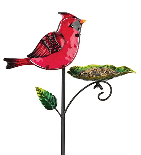 (Regal Art & Gift 11.75 Inches X 4.25 Inches X 29.75 Inches Metal/Glass Bird Feeder Stake -)