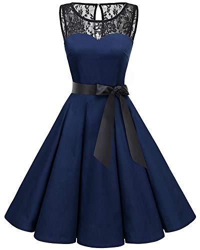 Bbonlinedress Women's 1950s Vintage Rockabilly Swing Dress Lace Cocktail Prom Party Dress Navy L