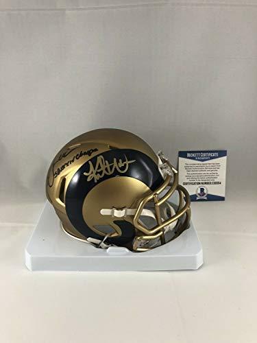 Kurt Warner Marshall Faulk Autographed Signed St Louis Rams Blaze Mini Helmet Signature - Beckett Authentic
