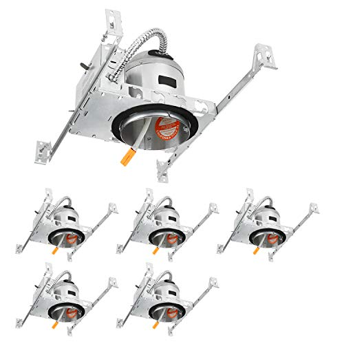 TORCHSTAR 4 Inch New Construction LED Recessed Housing, IC-rated Air Tight Ceiling Downlight Can with Junction Box, TP24 Quick Connecter, ETL-listed, Aluminum, Pack of 6