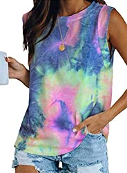 Itsmode Women's Tie Dye Print Sleeveless Tunic Tank Top Crew Neck Casual Summer Shirts Blo