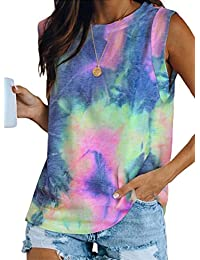 Itsmode Women's Tie Dye Print Sleeveless Tunic Tank Top Crew Neck Casual Summer Shirts Blouses