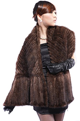 Vogueearth Women'Real Knitted Mink Fur Winter Warmer Shawl Brown by vogueearth