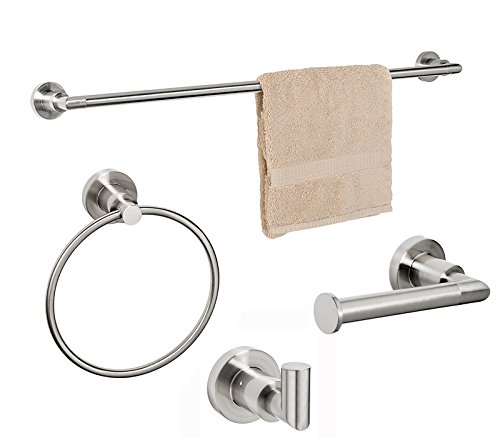 Dynasty Hardware 4000-SN-4PC Manhattan Towel Bar Set, Satin Nickel, With 24