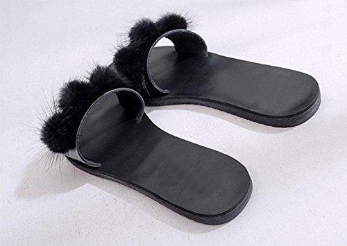 Die neue Frau Kamelhaar Pantoffel Plüsch flach mit flachen Sandalen Wort Drag beiläufiger weiblicher Mode Black