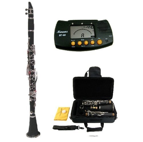 Merano B Flat Black / Silver Clarinet with Case+Mouth Piece+Reed and Cap; Screwdriver; Soft Cleaning Cloth; Cork Grease; A Pair of Gloves+Free Metro Tuner by Merano