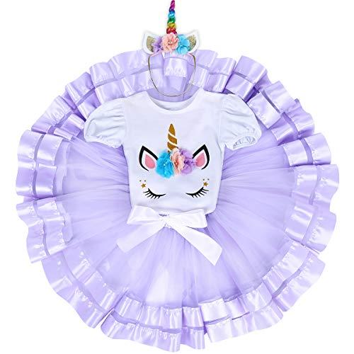 3PCS Unicorn Princess Outfit Newborn Baby Girls 1st Birthday Flower Romper Bodysuit T-Shirt Top Cake Smash Layered Rainbow Tulle Tutu Skirt Dress Hair Clip Horn Headband Clothing Set #F 6-12 Months (F Birthday Cakes)