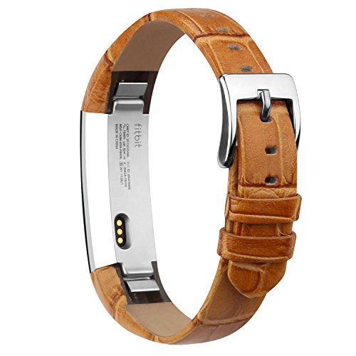 iGK Leather Replacemnt Bands Compatible for Fitbit Alta and Fitbit Alta HR, Genuine Leather Wristbands with Stainless Steel Buckle Bamboo-Grain