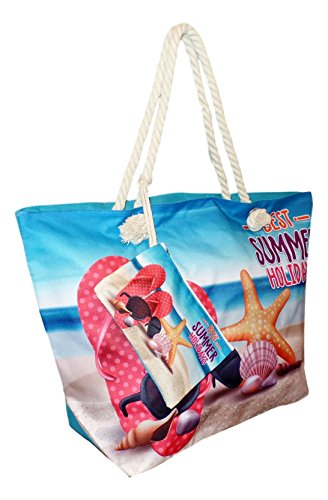 Tropical Print Beach Bag Tote with Pouch (Best Summer Holidays)