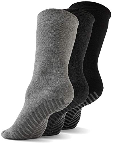 Gripjoy Grip Socks Non Slip Socks for Women Men - Non Skid Hospital Socks - 3 pk (Small/Medium (men 6-8.5 / women 5-10), Multi (Black/Dark Grey/Light Grey))