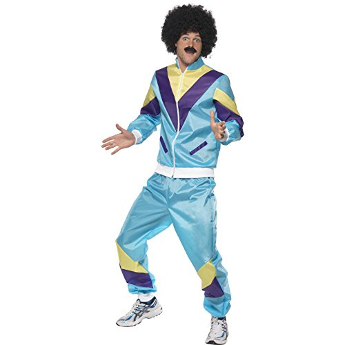 Smiffys Men's 80's Height of Fashion Shell Suit Costume, Jacket and pants, Back to the 80's, Serious Fun, Size L, -