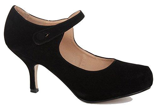 FOLLOW ME FMUK  H213, Damen Mary Jane Halbschuhe, Schwarz - schwarz - Größe: 38.5