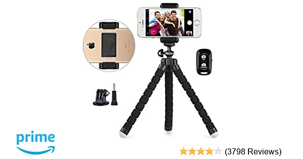 Phone Tripod, UBeesize Portable and Adjustable Camera Stand Holder with  Wireless Remote and Universal Clip, Compatible with iPhone, Android Phone,