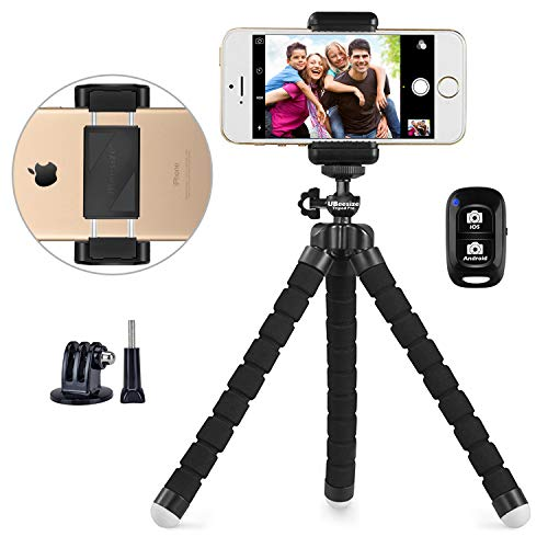 Phone tripod, UBeesize Portable and Adjustable Camera Stand Holder with Wireless Remote and Universal Clip, Compatible with iPhone, Android Phone, Sports Camera GoPro【2018 NEW VERSION】 from UBeesize