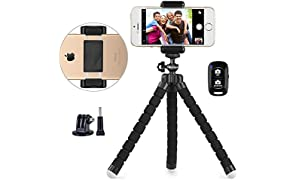 Phone tripod, UBeesize Portable and Adjustable Camera Stand Holder with Wireless Remote and Universal Clip, Compatible with iPhone, Android Phone, Sports Camera GoPro【2018 NEW VERSION】