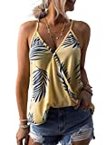 AlvaQ Women Camis Casual Summer Clothes V Neck Sexy Leaf Print Tanks Tops Vest Blouse Shirts Plus Size 1X Yellow