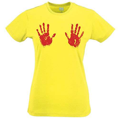 Bloody Hand Print Blood Stained Ideal Halloween Scary Horror Monster Womens T-Shirt Yellow