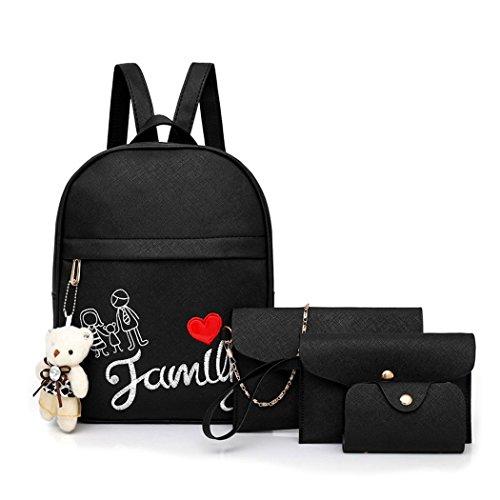 Women Handbags Backpack Shoulder Bags School Bags And Shoppers Leather Shoulder Bags Pu 3pcs Pink Set Fekete