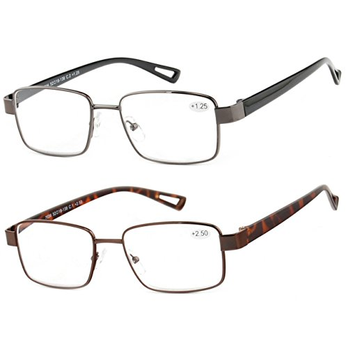 Reading Glasses Set of 2 Metal Rim Readers Fashion TR90 Lightweight Comfort Frames for Men and Women Glasses for Reading +1.75