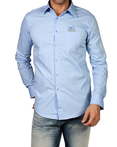 FENDI - Men's Shirt HITA POPELINE (FS0655 96T) - blue, 41 (cm - 16 inches - - Men Fendi