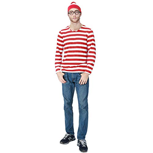 YUNQICOS Halloween Cosplay Costumes, Shirt Costume, Adult Funny Sweatshirt, Hoodie Outfit Glasses Hat Shirt Suits ()